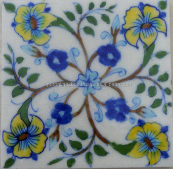 Home Decor Ceramic Material Indian Vintage Blue Pottery Tiles