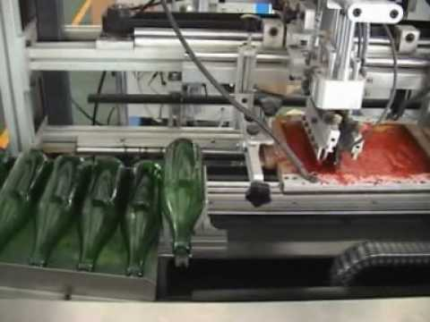 Automatic three colors glass bottle screen printing machines