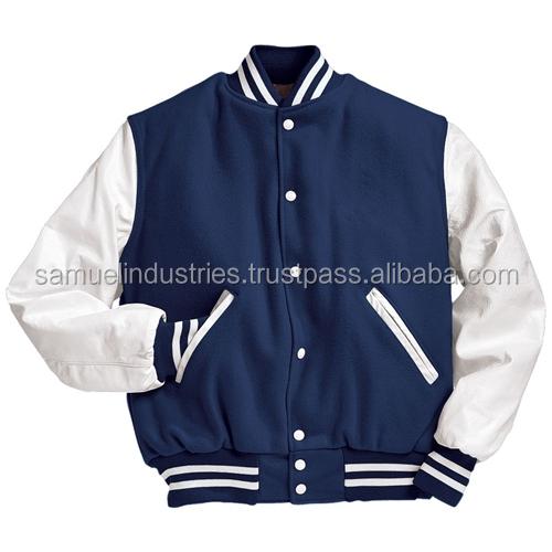 Varsity Jacket Collection Unique GREY Brand Wool Body /& Leather Sleeves Baseball