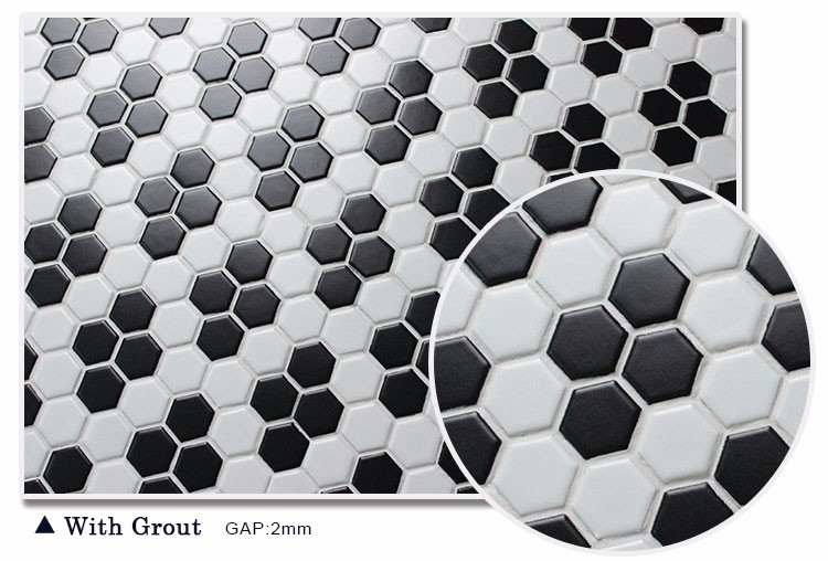 New Design Wintersweet Flower Pattern Black White Hexagon Mosaic Floor Tile