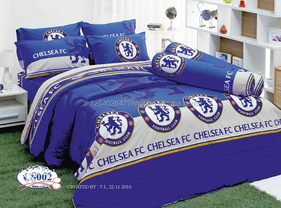 Chelsea Arsenal FC Soccer Team Official Licensed Bedding Set 3 Design(Fitted Sheet, Bolster Case, Pillow Case, Comforter)