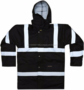 Captain ZA0010_ Unisex Parka Black SAFETY PROTECTION REFLECTIVE TAPE WORKWEAR WINTER JACKET CAP