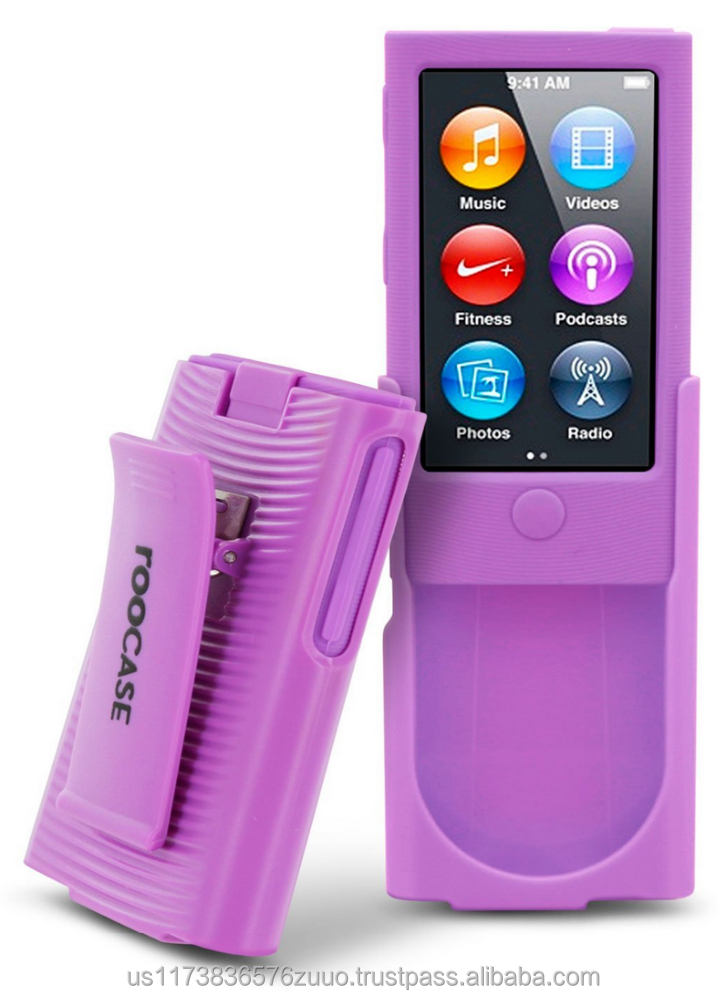 Hybrid Silicone Case with Detachable Spring loaded Holster Clip for iPod Nano 7th Generation roocase (purple)