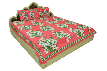 cotton manufacturer custom printed bed sheets india high quality