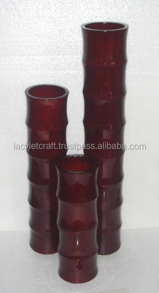 High quality best selling eco friendly spun bamboo brown laccquer tube vase from Vietnam