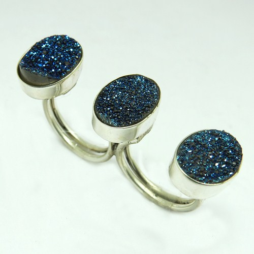 Fashion!! Blue Oval Druzy Two Finger 925 Sterling Silver Bezel Ring, Unique Silver Jewelry, Exporter And Wholesale