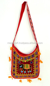 Elephant Themed Embroidery Work Handbags Whole Kutchi Shoulder Bags Indian Traditional