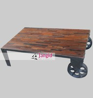 industrial cast iron heavy wheel coffee table furniture manufacturer and exporter
