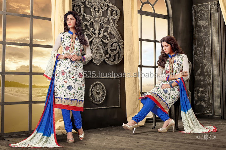 Exclusive Stylish Off White Cotton Churidar Suit