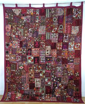 Big Vintage Sari Patchwork Large Tapestry Embroidered Mirror Work