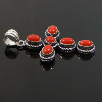 silver pendant red genuine mexico silverbestbuy sterling from coral