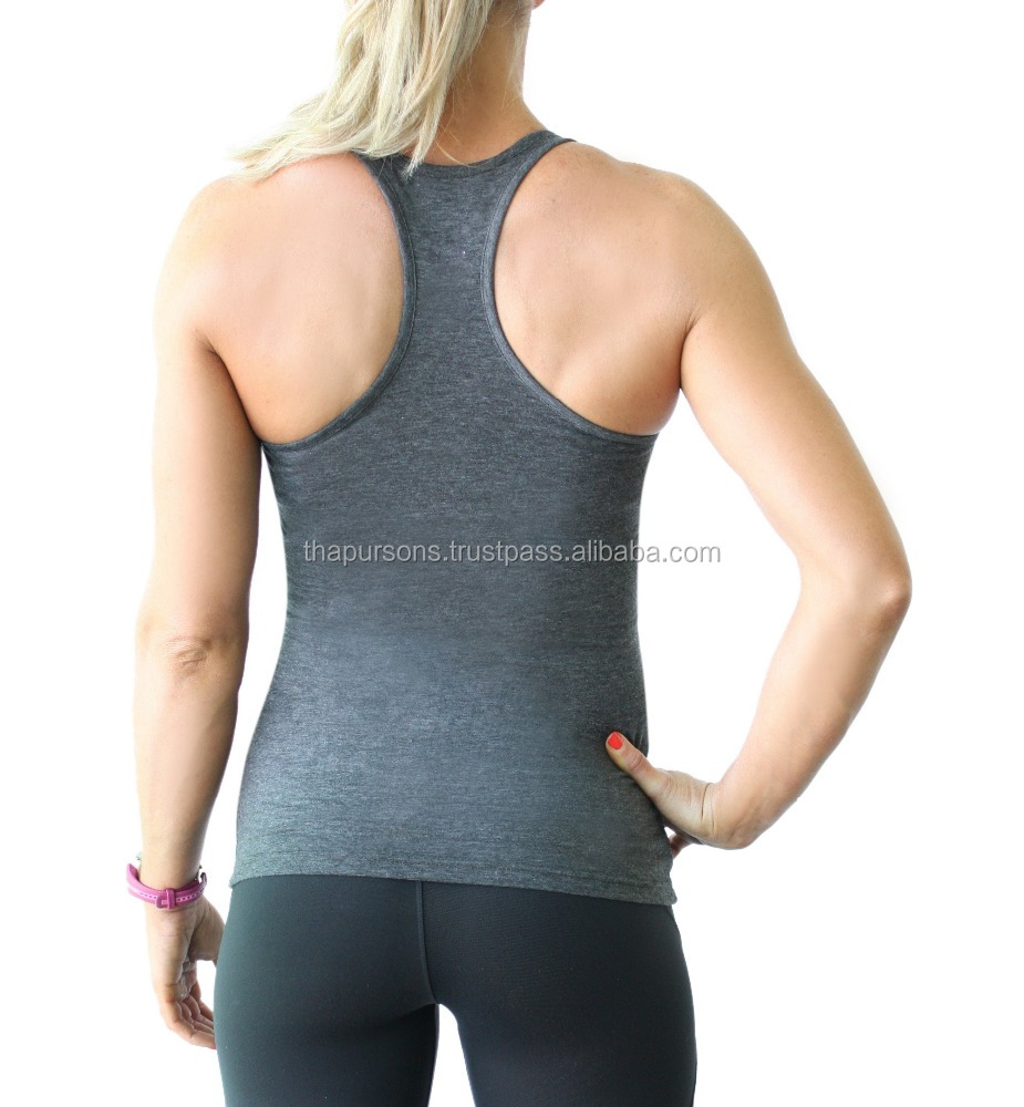 Womens Tri Blend Athletic Feel Junior Style Gym Workout Blank Solid Color Soft Tank Tops