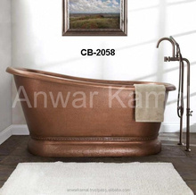 Copper Bath Tubs Extra Wide Macy Hammered Copper Double -Slipper Nickle Interior Cooper Bath Tubs