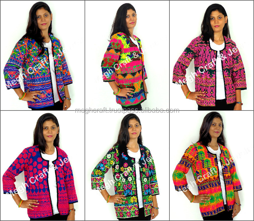 Indian ethnic kutch embroidery jacket - Vintage tribal embroidered cotton  jacket for women - Wholesale navratri