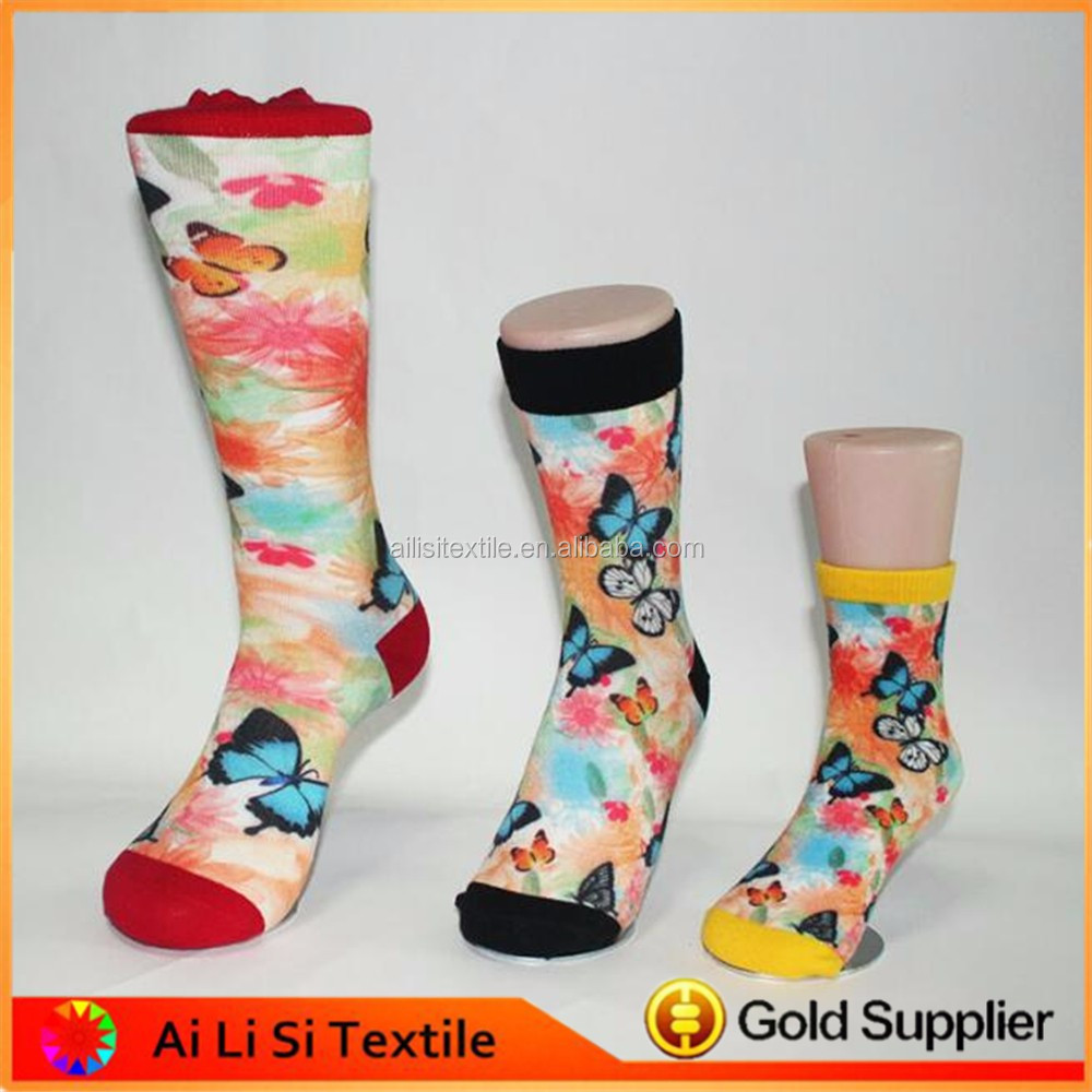 Rose Flower Wholesale 360 Seamless Printing Socks, Custom Sublimation Blank Socks With Low Mqq