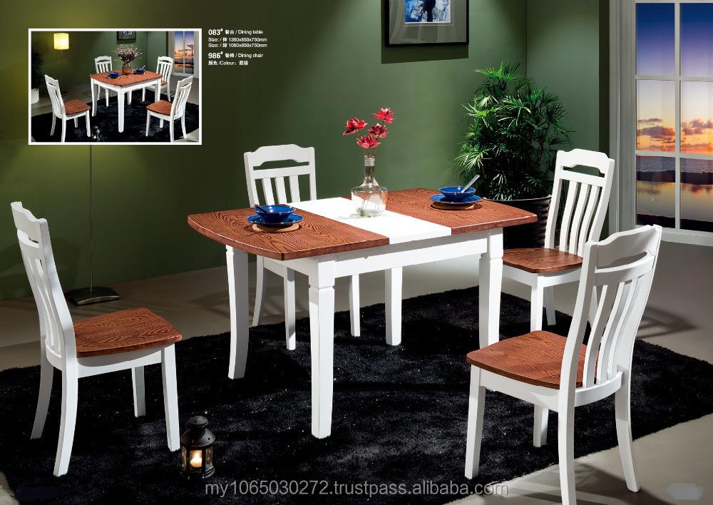 Massief hout uitschuifbare eettafel set eetkamer meubels met hoge kwaliteit eetkamer sets - Meubels set woonkamer eetkamer ...