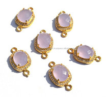 ALE CZ Pave Pink Chalcedony Cushion Shape Connector Size 11x11mm Gold Plated Pink Chalcedony Cushion Double Loop Pendant, Charm