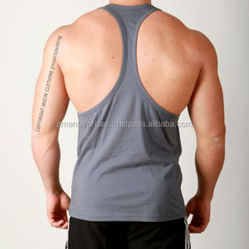 771ccef54291b0 Y-back mens gym singlet 100% cotton with custom printing - 100% cotton