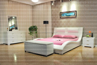 Modern Wooden Style Queen Size White Color Contemporary Platform Bed, no need of box spring