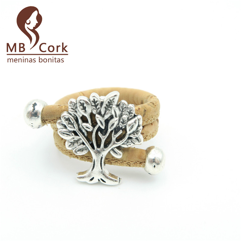 Natural cork Tree of Life wood ring, handmade cork jewelry R-009