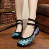 Peacock Sequins Woman Chinese Style Flower Embroidery Old Beijing Canvas Shoes Cow Muscle Sole Cotton Upper