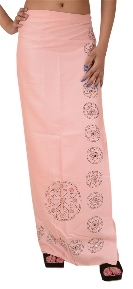 WOMEN EMBROIDERED WRAPAROUND LONG SKIRT RAYON PAINTED MAXI GYPSY BOHEMIAN