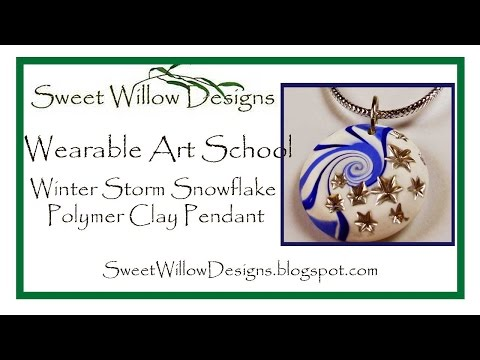 Polymer Clay Tutorial Winter Storm Snowflake Pendant