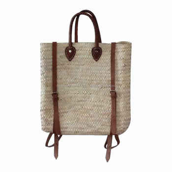 Trendy Handwoven Straw Backpack Bag