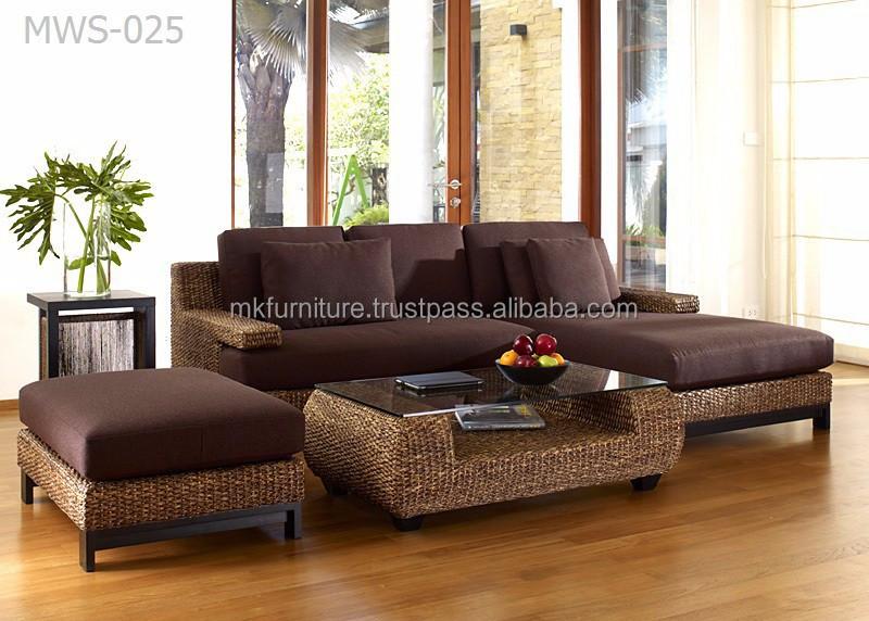 Luxury living room divano set giacinto d 39 acqua di vimini mobili in rattan divani di soggiorno id - Divano in vimini ...