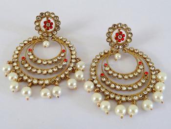 28404a9bd 2015 Punjabi Chandelier Earrings-Wholesale pearl Earrings-Kundan Punjabi  Wedding Jewelry-imitation Pearl