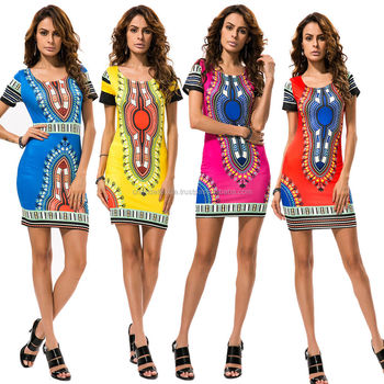 fd353304c52 Sexy Women s Traditional African Print Dashiki Bodycon Dress Short Sleeve  Dress Cotton Cetak Dashiki Dress