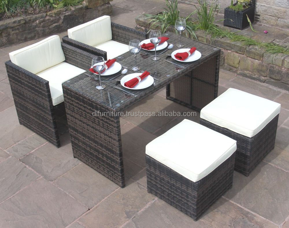 New Model 2016 with new design All Weather 5 Piece Mini Cube Set Outdoor Poly Rattan Furniture