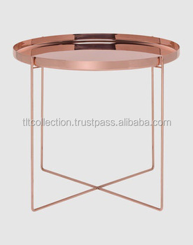 Copper Side Table Iron Side Table Rose Gold Side Table Coffee Table With  Metal Top