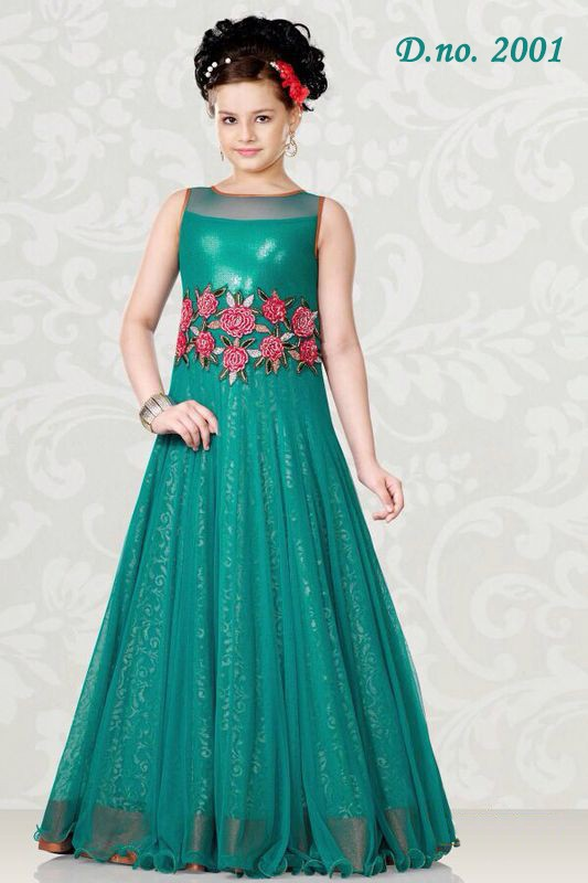 Designer Party Wear Gown Style Lehenga For Children/kids - Buy ...