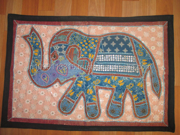 Elephant Wall Hanging wholesale price cotton hand embroidered round elephant wall