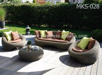 Wicker Round Rattan Garden Sofa Set