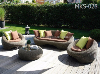 Wicker Round Rattan Garden Sofa Set Furniture Patio