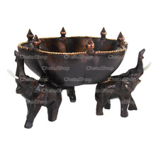 Elephant Rain Tree Wood Hand Carving Bowl & Centerpiece