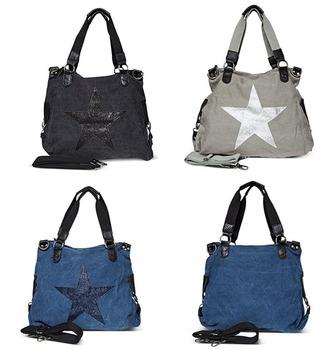 47c1638d28bb9 Frauen Handtasche Stern Tasche Strass Anwendung Schul aus hochwertigem  leinwand   kunstleder