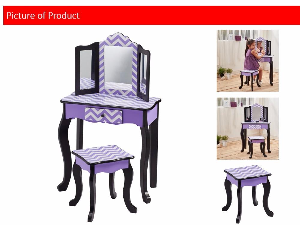 Astonishing Teamson Kids Fashion Prints Purple Chevron Vanity Table Stool Set Buy Kids Furniture Vanity Set Dressing Table High Quality Kids Vanity Table Ibusinesslaw Wood Chair Design Ideas Ibusinesslaworg