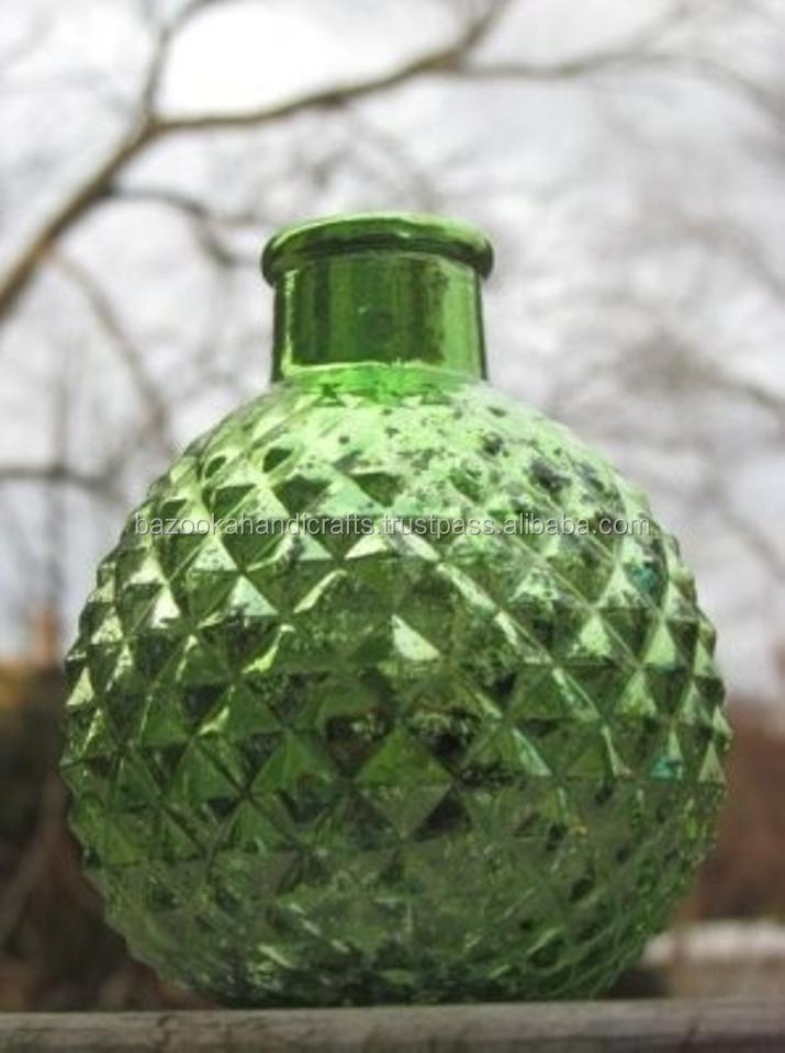 Mercury Glass Vase,Green Mercury Glass Mini Bud Vases Round Speckled - Buy  Antique Green Glass Vase,Bub Green Vase,Small Glass Bud Vases Product on