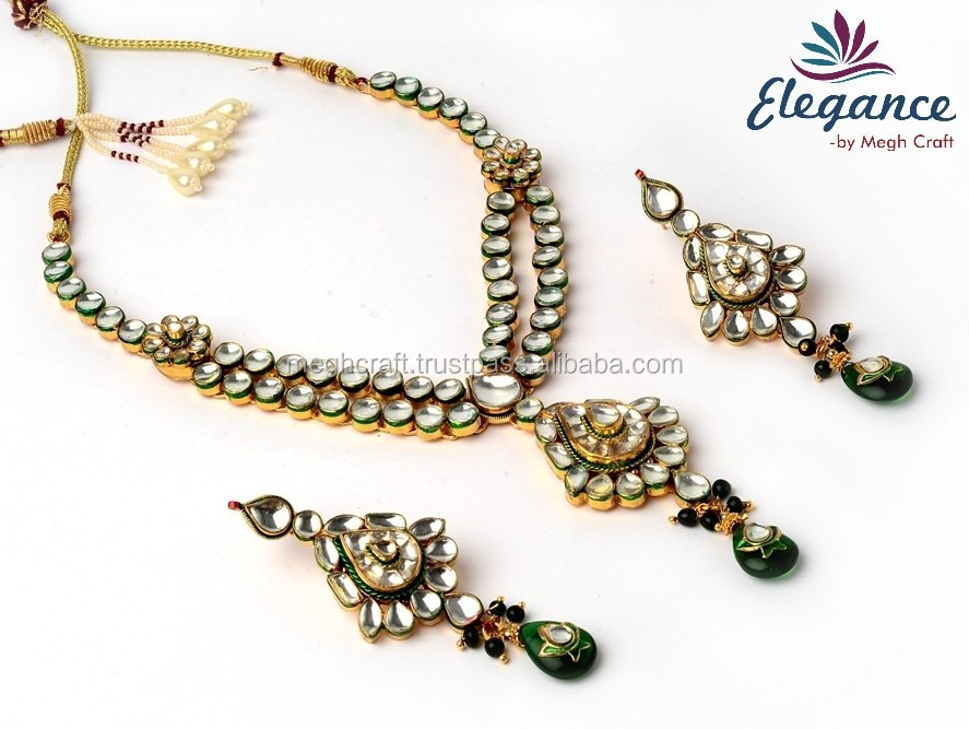 Bollywood Style Kundan Necklace Set - Real Kundan Jewellery - Gold ...