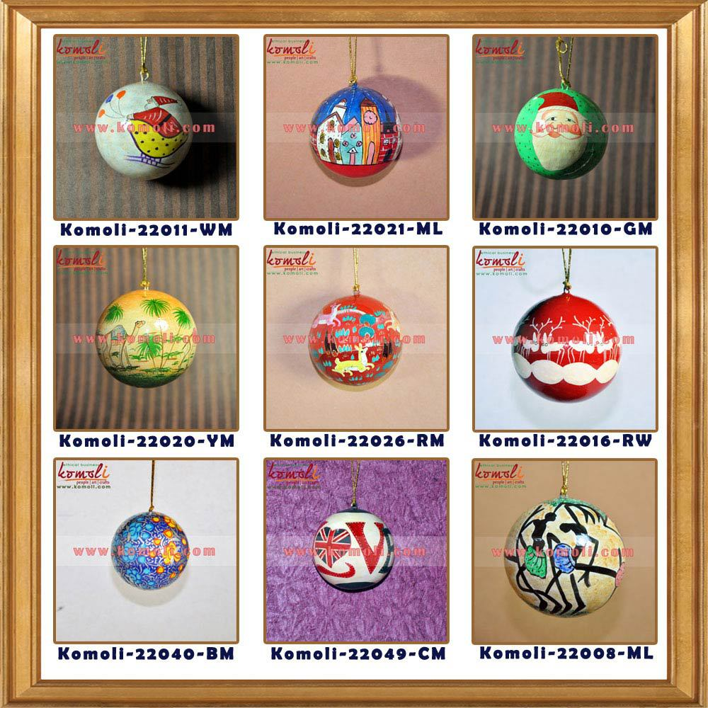 2017 Desings Wooden Hand Painted Indian Christmas Decorative Bells Ornaments  And Hanging Decorations