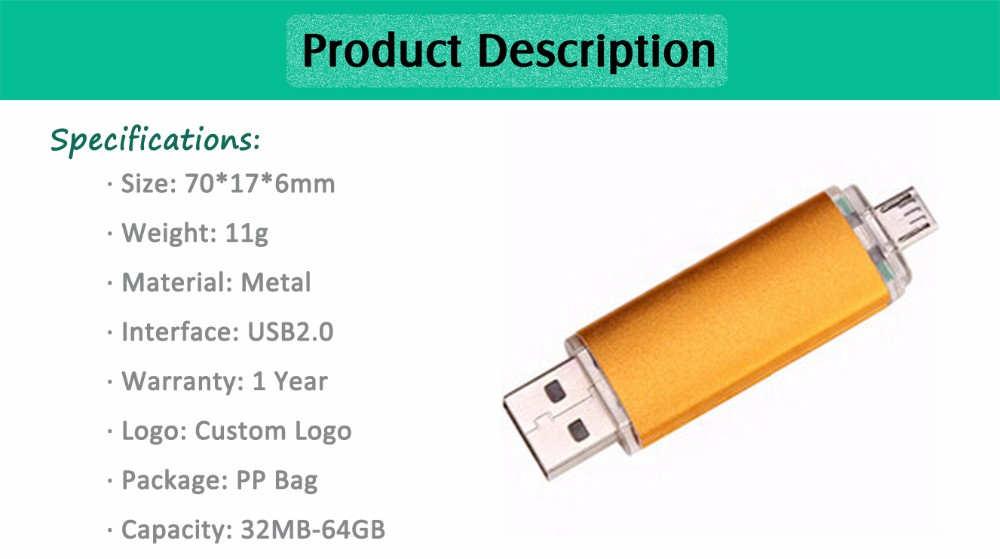 2 In 1 OTG USB Stick with Customized Logo for Mobile Phone