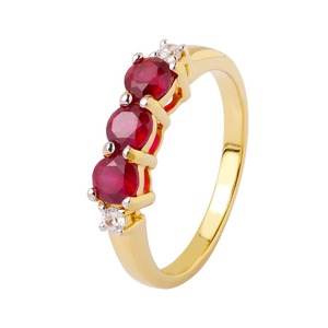 b3f2d9b1401b1 Natural Ruby trilogy statement ring 925 silver, 14k gold