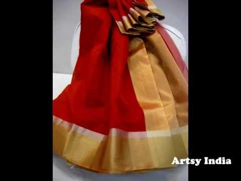 Chanderi Sarees, Handwoven Chanderi Sarees, Chanderi Silk Cotton Sarees from Artsy India
