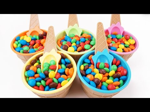 Candy Surprise Cups Ice Cream M&M Cupcakes Monster Cars Spiderman Robocar Poli Learn Colors