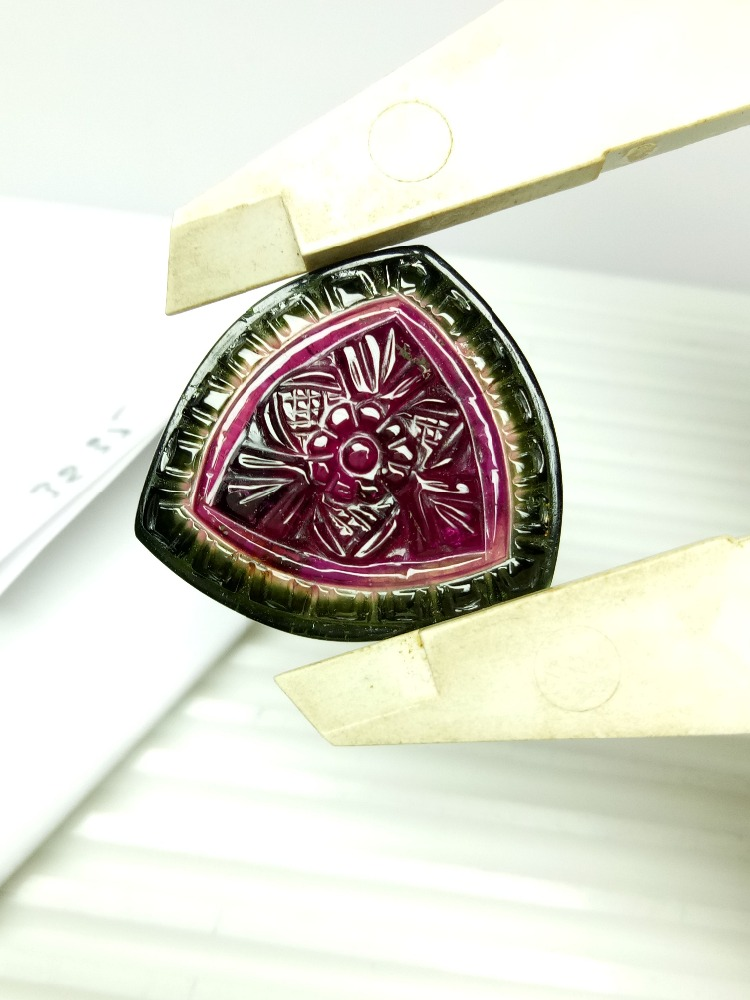 Authentic Natural Watermelon tourmaline carving