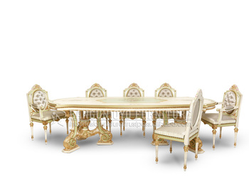 Italian White Gold Luxury Dining Set