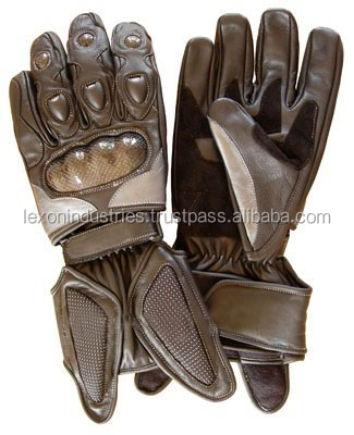 Motorbike racing gloves with knuckle finger protection brown color